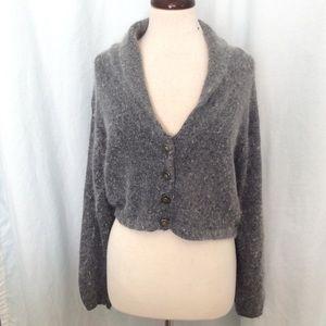 Reference Point gray Crop Sweater Silk & Angora